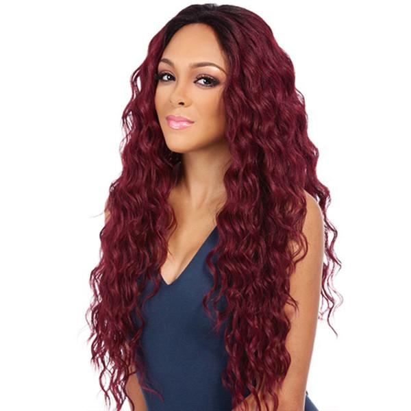 Réel perruque frange oblique longue perruque de maïs Perm permanent perruque de cheveux bouclés ou perruque (+ filet de perruque