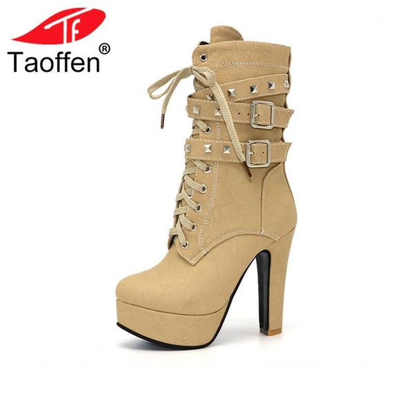 Taoffen sapatos femininos mulheres botas de bezerro médio sapatos de inverno rebites de zíper de pelúcia de salto alto moda casual inverno tamanho 32-47