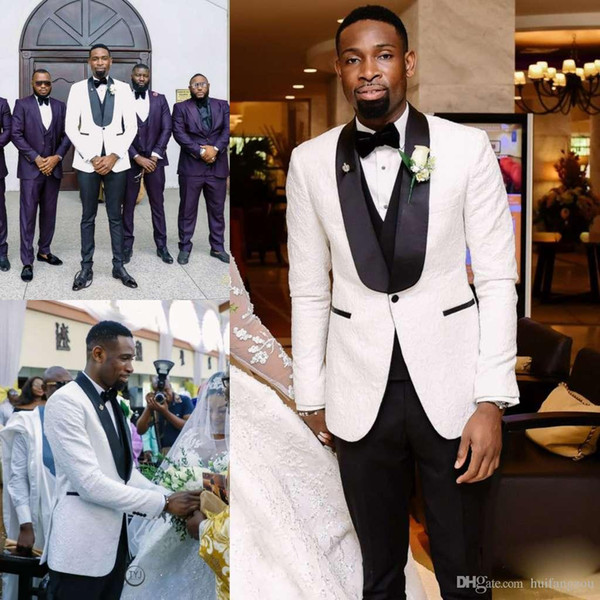 Customized Mens Designer Jackets Suits Black Shawl Lapel Three Pieces Groom Tuxedos for Weddings Best Man Business Men Suits Custom Made
