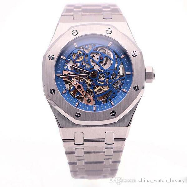 Reloj de lujo Reloj para hombre Royal Oak Rueda de equilibrio doble Calado 41 mm Negro Esqueleto de acero inoxidable Movimiento automático Azul Hombres Relojes