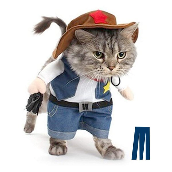 Cowboy Dog Costume with Hat Dog Clothes Halloween Costumes for Cat and Small Dog