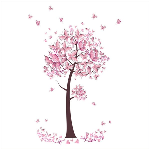 Hot Pink Butterfly Wall Decor Flowers Tree Wall Stickers for Kids Room Bedroom Home Decor DIY Poster Mural Wallpaper Wall Decals