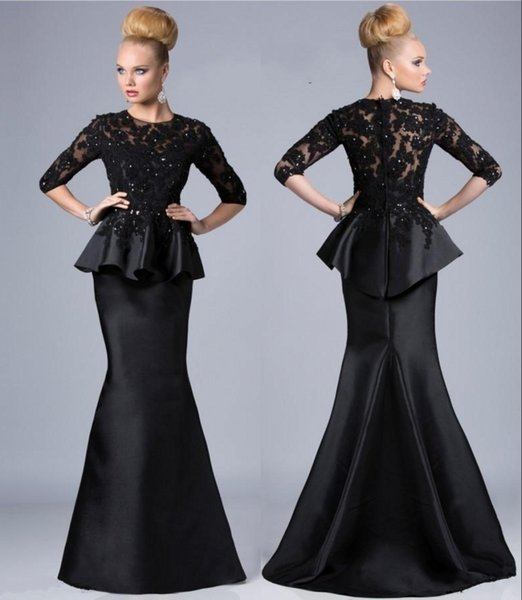 2020 Mother Of The Bride Dresses Mermaid Jewel Neck 3/4 Sleeves Lace  Appliques Beaded Peplum Plus Size Party Dress Black Evening Gowns Evening  Dress ...