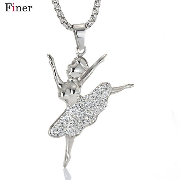 Fashion Silver Plated white Dancing Ballerina Dancer Ballet Dance Pendant Necklace Charm Girls Christmas Gift
