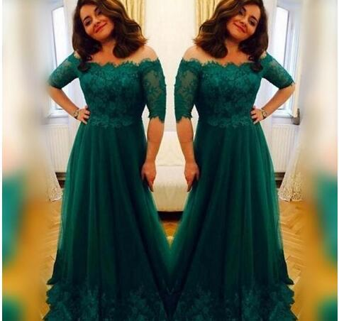 Dark Green Half Sleeves Mothers Dresses Off Shoulder Floor Length Lace Applique Mother of the Bride Dress for Prom Party