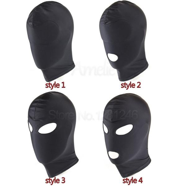 top popular Black Sex Mask Open Mouth SM Bondage Hood Fetish Mask,Restraint Sex Kinky Mask Hood Sexy Slave Sex Toys For Woman Man Couples C18112701 2021