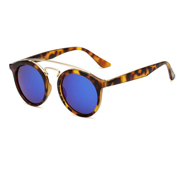 Great Quality Sunglasses Round Vintage Chic Steampunk Glasses Men Women Gold Double Bridge lentes de sol hombre With box and Logo