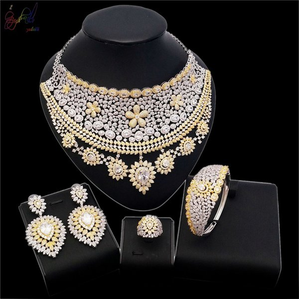 Yulaili Luxury American Natural Zircon Luxury Gold Series Flower Indian Scarf Style Jewelry Sets in Party Show For Classic Wedding