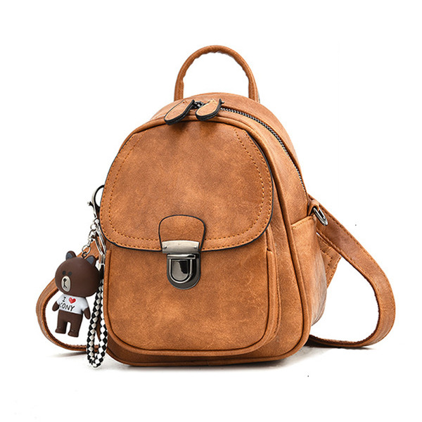 2019 New Designer Fashion Mini Women Backpacks Soft PU Leather Small Backpack Female Ladies Shoulder Bag Girl Purse