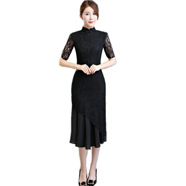 New Arrival Fashion Lace Women Slim Chinese Dress Flower Short Sleeve Cheongsam Mandarin Collar Long Qipao Size S M L XL XXL