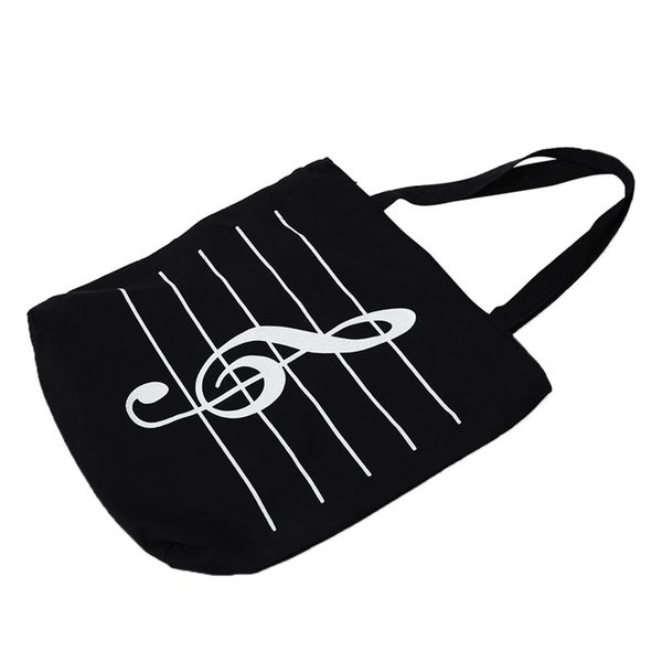 New Women Casual Canvas Musical Note Tote Shopping Shoulder Bags Girls-HandbagsS