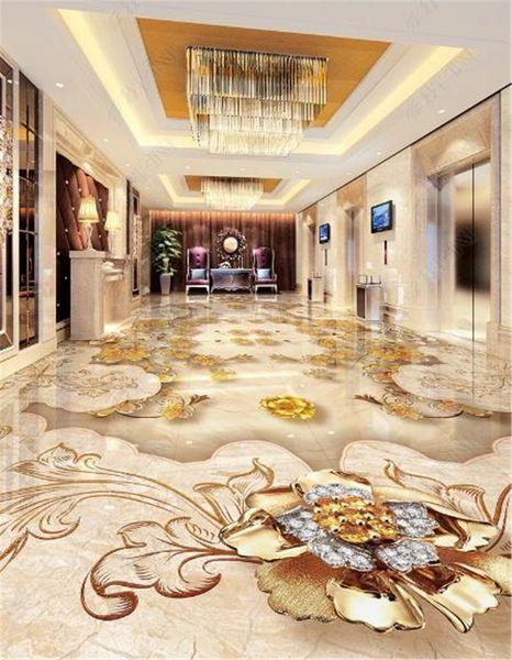 Custom Photo Wallpaper 3d Luxury European Gold Rose Stone Mosaic 3d Living Room Bathroom Floor Tiles Mural Wallpaper Desktop Wallpaper Desktop