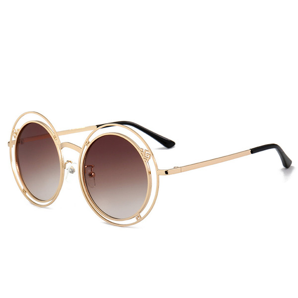 2019 new sunglasses, fashion, round frame sunglasses Korean version of the big box face versatile sunglasses