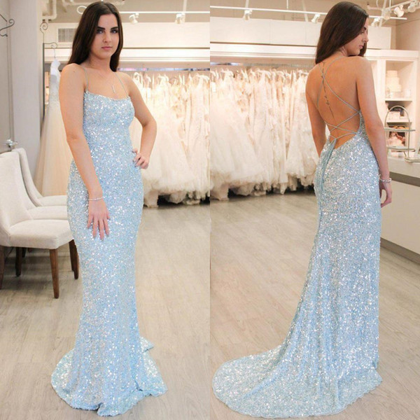 Sexy Backless Girls Mermaid Prom Dresses Light Sky Blue New 2019 Spaghetti Straps Bling Sequined Long Evening Gowns Cocktail Party Wear