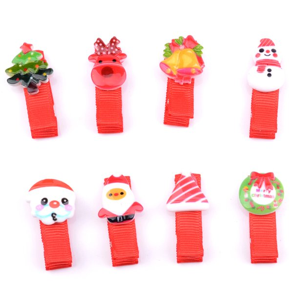2pcs/pack Cartoon Bb Hair Clips Christmas Hairpins Girls Acrylic Hair Clips Children Hair Accessories For Holiday Gift Xmas Gift