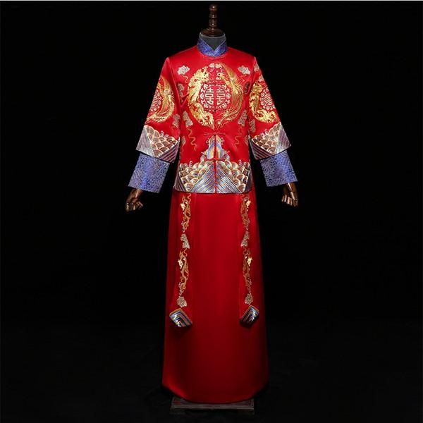 Vestido de casamento de cetim longo feminino vestido de noite de luxo elegante requintado Cheongsam Vintage Mandarin colar Suzhou bordado Qipao