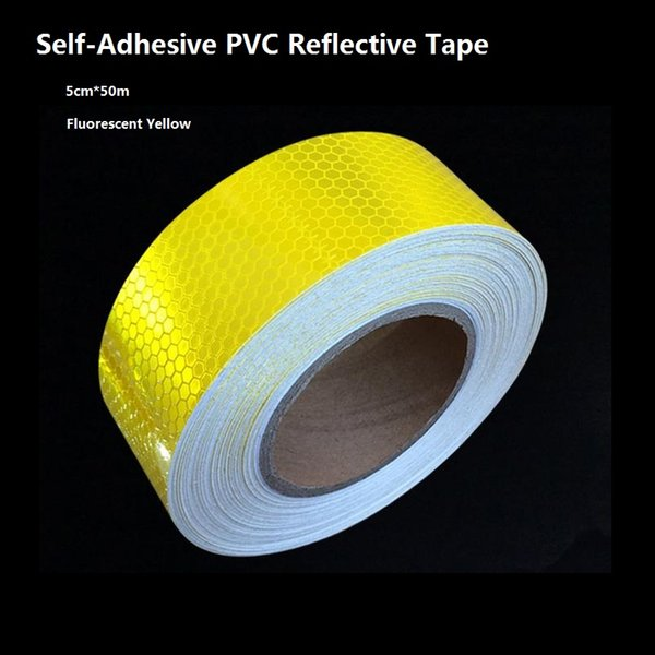 top popular 5CM*50M PVC Self-Adhesive Reflective Tape High Visibility Fluorescent Yellow Reflective Warning Tape For Van Car Traffic Sign 2021