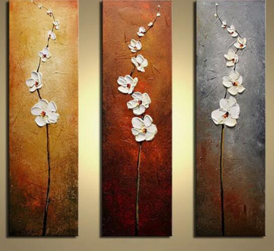 WEEN No Frame Fiore Bianco Dipinto A Mano Olio Su Tela Dipinto 3 Pannelli Modulo Tavolozza Coltello Immagini A Parete Opere Decorative