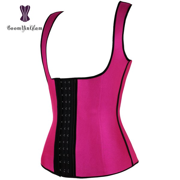 Shoulder Straps 4 Steel Boned Waist Cincher Shaper Posture Corector Shapewear Waist Trainer Underbust Corset Latex Vest 886#