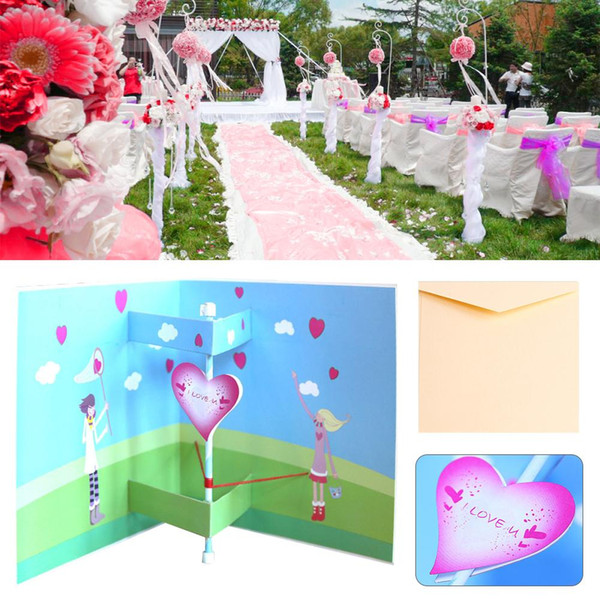 3D Stereo Greeting Card Valentine Day Handmade Creative Paper Carving Heart Shaped Postcard Wedding Party Invitation Decoration