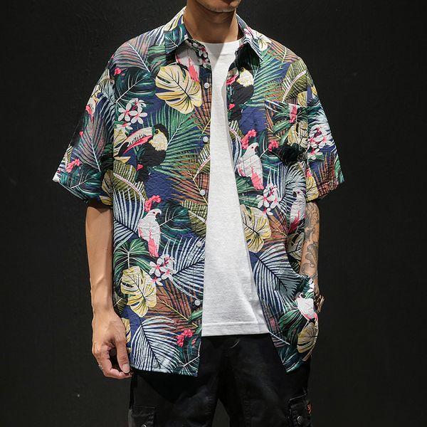 Japan Style Men Floral Shirt Summer Short Sleeve Shirt Men Loose Print Men's Casual Beach Shirts Turn Down Collar Blouse Homme