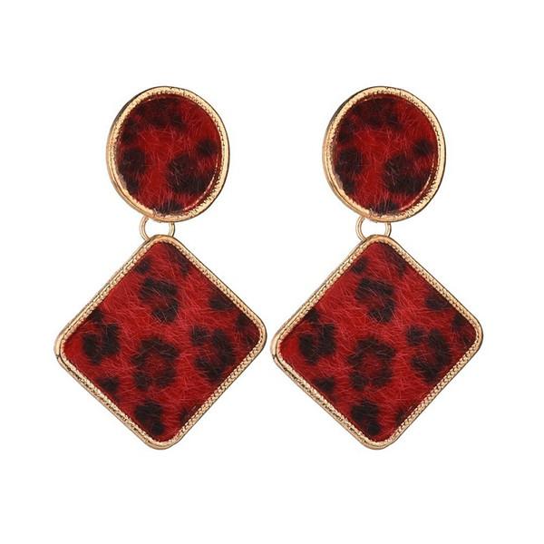 2019 New Trendy Velvet Leopard Print Gold Metal Geometric Round Stud Earrings For Women Jewelry Gifts E48