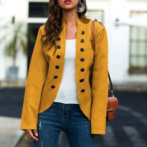 Autumn button Woolen jacket coats 2019 women Stand collar buckle double-sided woolen irregular jacket suit female jackets coat