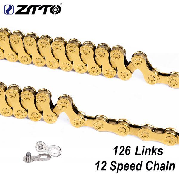 Catena ZTTO 12 Velocità MTB Bike Gold 126L 126 Collegamenti 1X12 Connettore Power Lock Sistema Missing Link Incluso per Mountain Bike