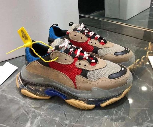 Balanciaga Luxury Dad Casual Shoes Crystal Bottom Triple S Leisure Shoes Sneakers for Men Women Vintage Old Grandpa Trainer chaussures