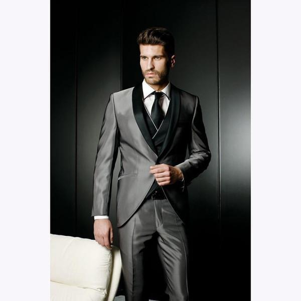 Pop 2019 Latest Coat Smoking Grey Satin Wedding Suits For Men Jacket Slim Fit Custom 3 Pieces Blazer Prom Mens Suit Tuxedo Masculino