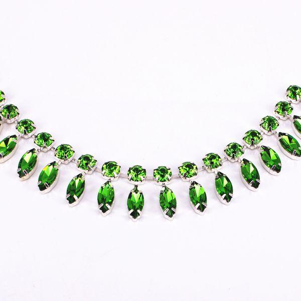 1 Yard cristallo cucire strass rotolo da sposa applique per i vestiti tovaglietta metallo strass verde 4 della disposizione di colore