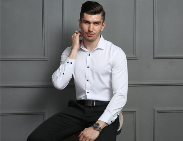 Camicie da ufficio micro-elastiche per il tempo libero non stiranti