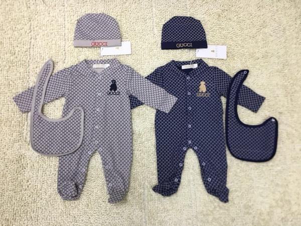 Marca Baby Boys Girls Pagliaccetti Designer Bambini manica lunga in cotone tute neonate lettera cotone pagliaccetto ragazzo abbigliamento nuovo modo