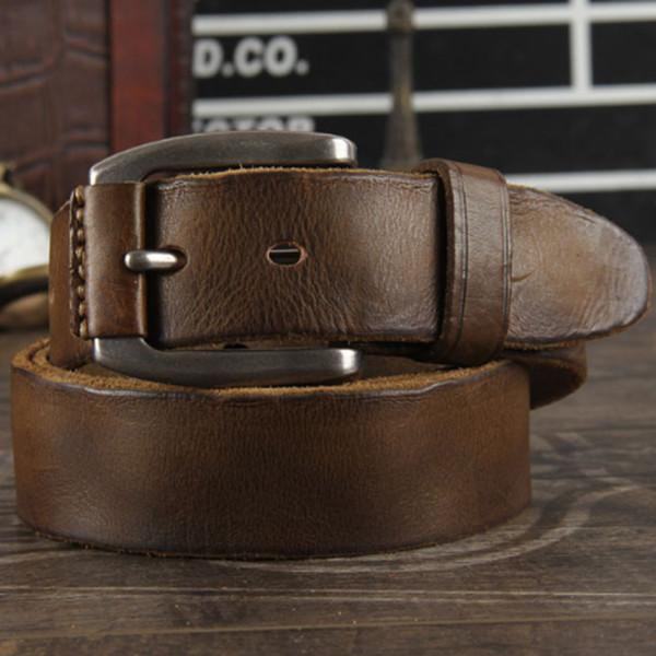 Nouveau 2019 ceinture en cuir ceinture en cuir véritable pour les hommes de couleur marron boucle de boucle le bracelet de jean vintage cinto
