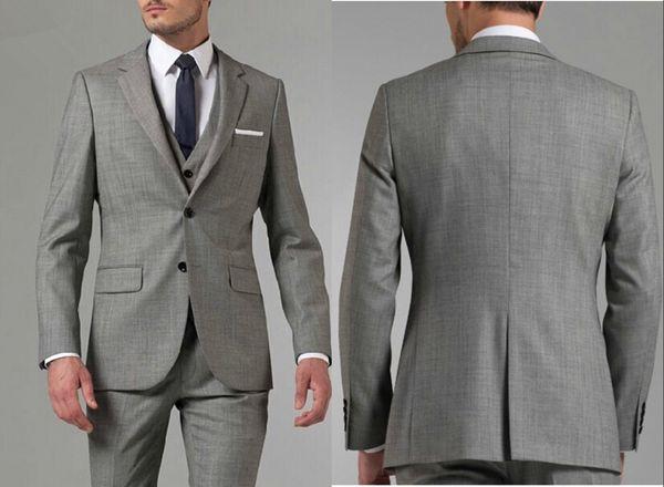 2019 Brand New Grey Groom Tuxedos Notch Lapel Center Vent Groomsmen Mens Wedding Dress Popular Man Jacket Blazer Suit(Jacket+Pants+Vest)