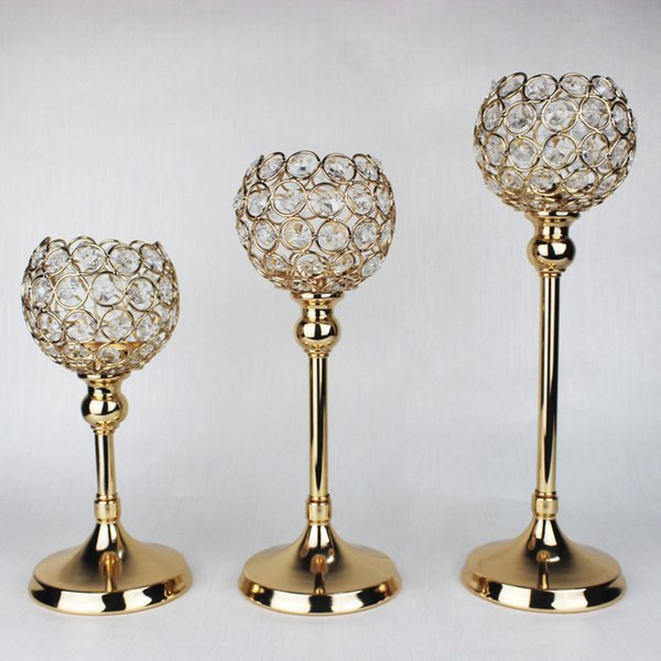 10 sets/lot gold silver beaded votive candle holder wedding crystal table decor gold wedding supplies candelabra centerpieces for event