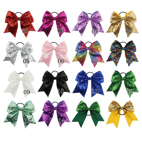 8 inches Solid Ribbon Cheer Bow For Girls Kids Boutique Large Cheerleading Hair Bow Children sequined Hair Accessories B11