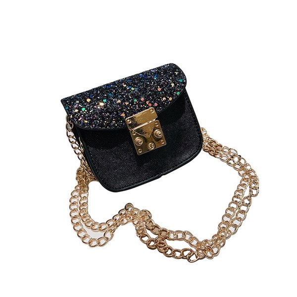 Children Fashion Women Quality Leather Sweet Bags Cute Hasp Design Sequins Cross-body Handbag Girls Kids PU Shoulder Messenger