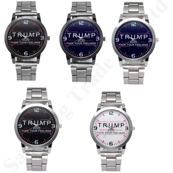 Presidente Trump 2020 Desinger Mujeres Hombres Relojes Relojes de pulsera de cuarzo retro Correa de acero inoxidable completa Cronómetro Reloj de lujo Cartas Relojes B82702