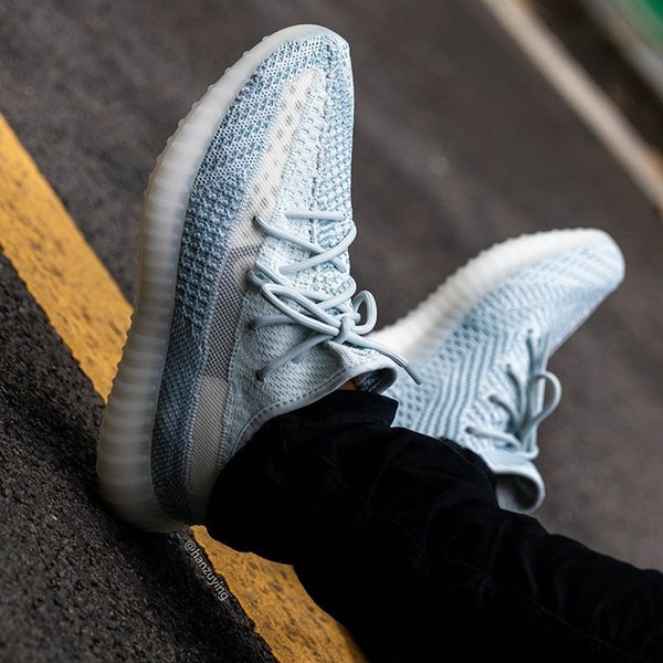 Kanye West Shoes Cloud White Citrin Reflective Moonlight Ice Blue Yellow Zebra Running Sports 3M Black White For Men Women Sneakers With Box