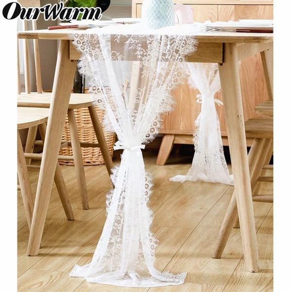 OurWarm White Lace Table Runner Textiles para el hogar Boho Theme Party Decoración de la boda Patrón floral Look vintage 35x300cm / 70 * 300cm