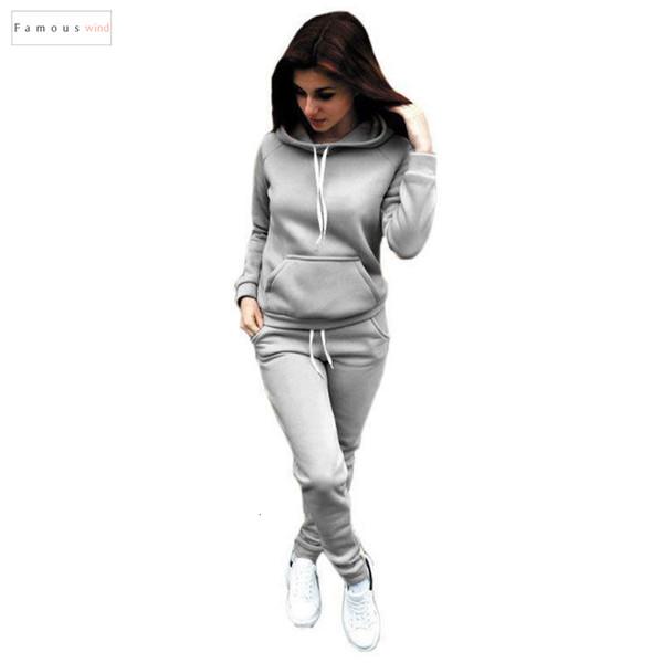 2pcs Treino Mulheres definido Hoodies Top Curto Calças suéter com capuz sólidos 2 Suits Pieces Mulheres Vestuário feminino