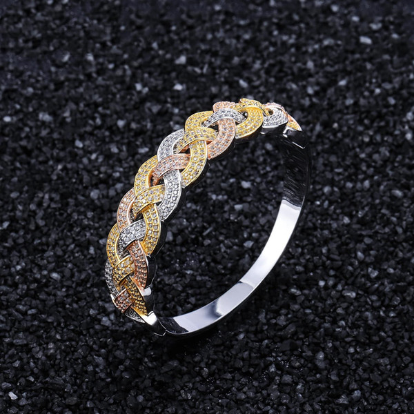 Hip-hop Zircon Bracelet Three Color Bangle Copper Jewelry para Hombres y Mujeres Hot
