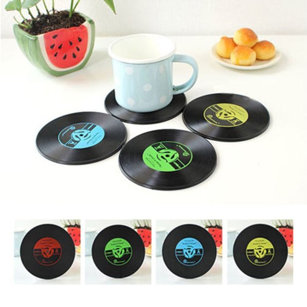 4 Colors Retro Vinyl Coasters Drinks Table Cup Mat Cushion Home Decor CD Record Spinning Placemat for Coffee Mugs Tableware