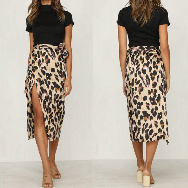 Fashion Sexy Women Ladies Summer Skirt Leopard Print High Waist Polyester Skirts