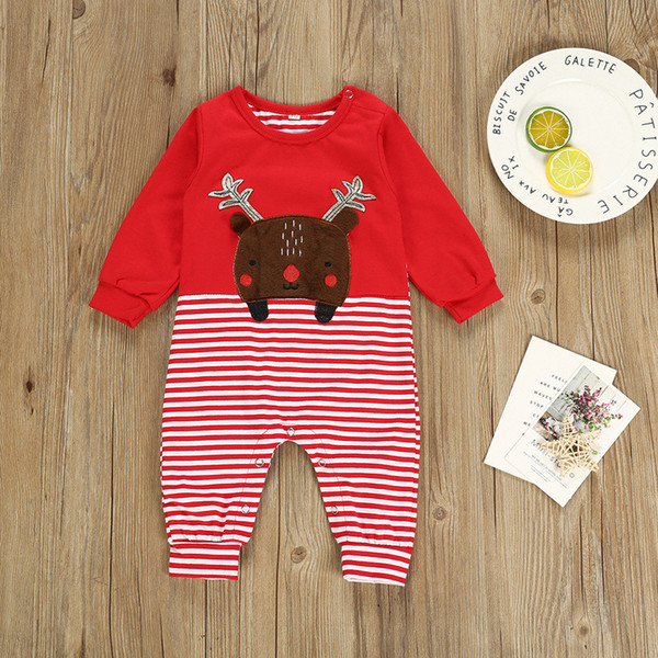 Christmas Kids Rompers 2019 Autumn Girls Boys Striped Deer Long Sleeve Long Pants Jumpsuits Bodysuit Infant Newborn Kids Clothing 8D2