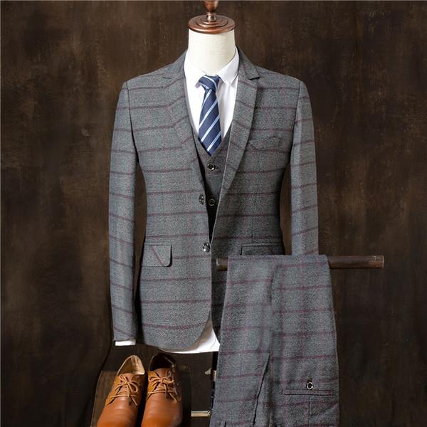 High-end mens striped suit gray navy blue slim fit men's wedding dress suits men Blazers with vest and pants size S M L XL 2XL 3XL