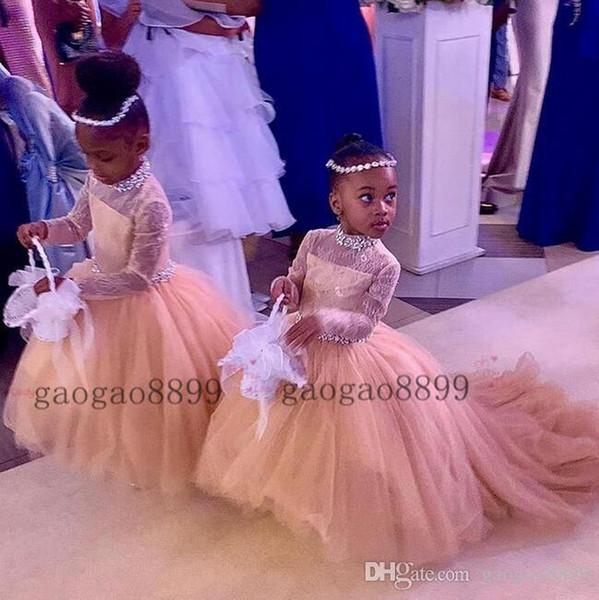 2019 Image réelle perles tulle Robes filles haute boule cou petites filles Robes lacé dans le dos balayage train Enfants Birthday Party Robes