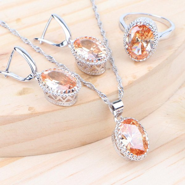 Bridal Silver 925 Jewelry Sets Women Cubic Zirconia Wedding Costume Jewellery Kids Ring Earrings With Stone Necklace Pendant Set
