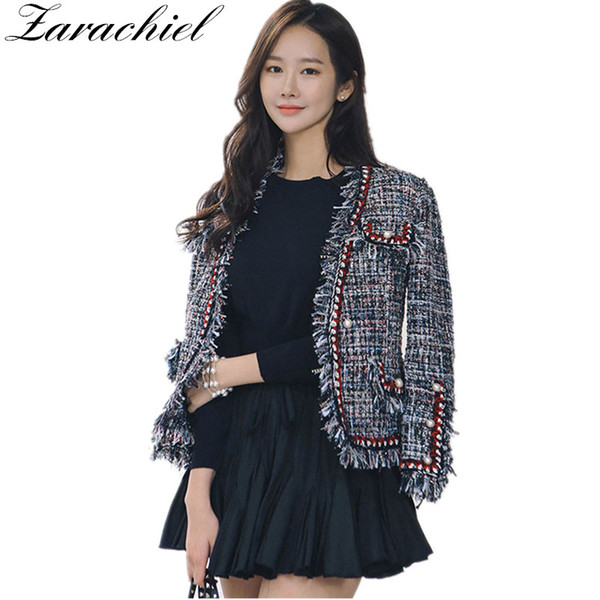 zarachiel fashion runway tweed jacket coat 2019 autumn winter women fringed trim long sleeves front pockets with pearls detail
